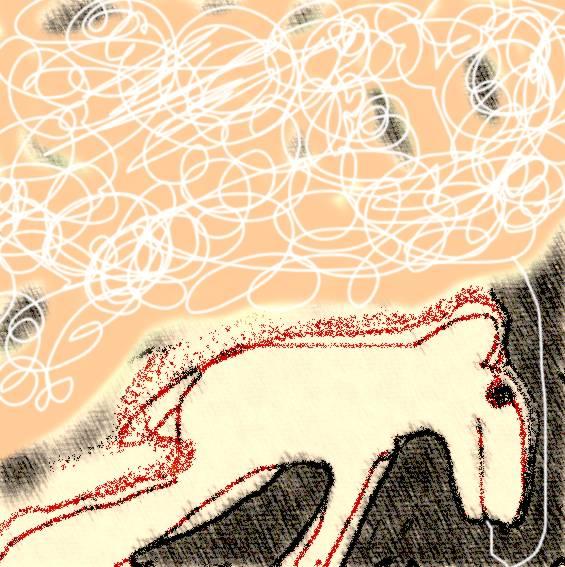 Hond aan de lijn, ontwerp voor zeefdruk