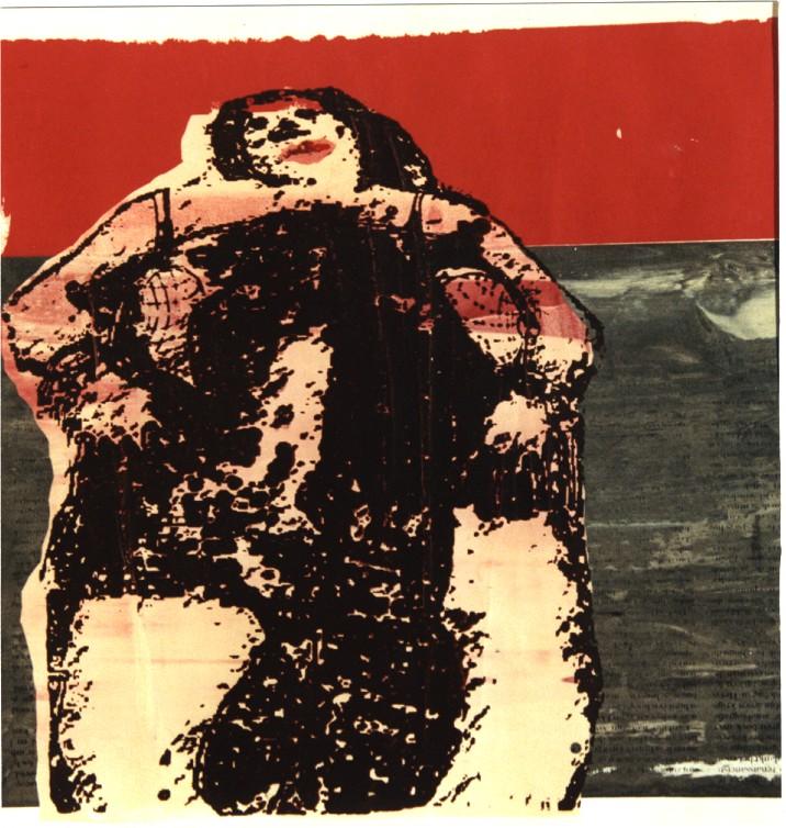 Vrouw in Noordzee, zeefdruk
